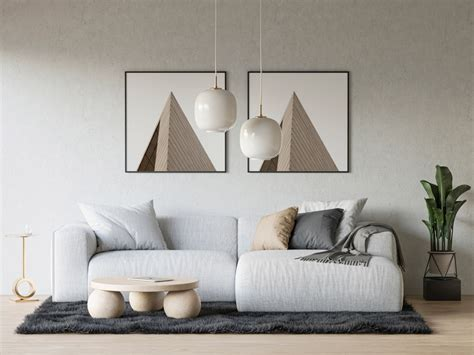Living Room with two Posters Mockup | Mockup World