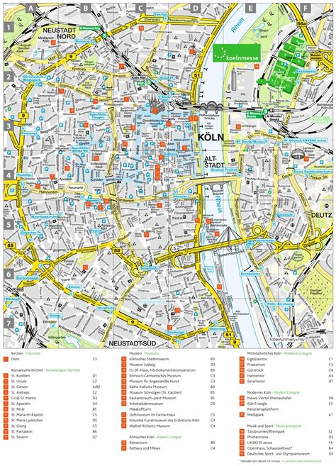 Cologne tourist attractions map