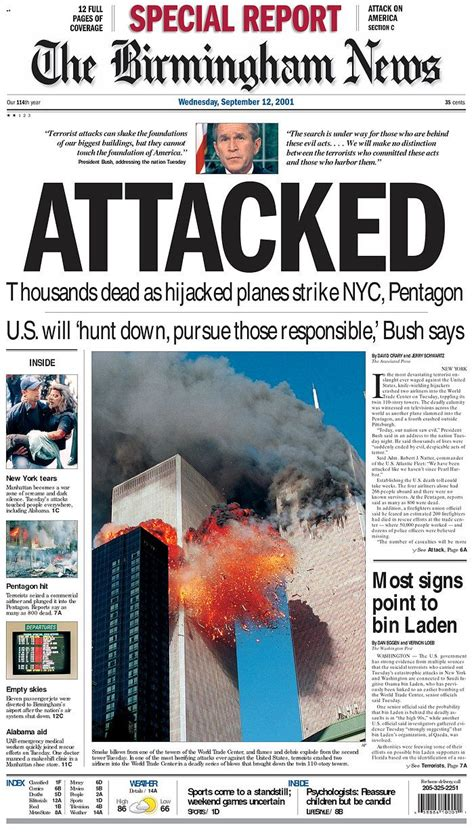 9-11-01 Front Pages | Newseum - The Birmingham News #