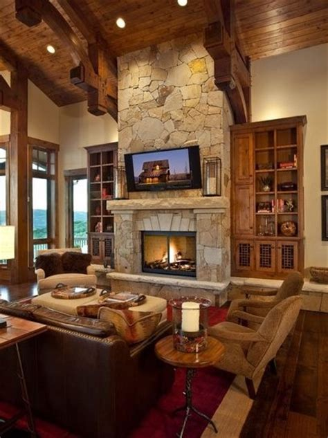 Love the TV above the fireplace