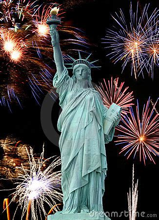 The Statue Of Liberty And July 4th Firework Stock Images