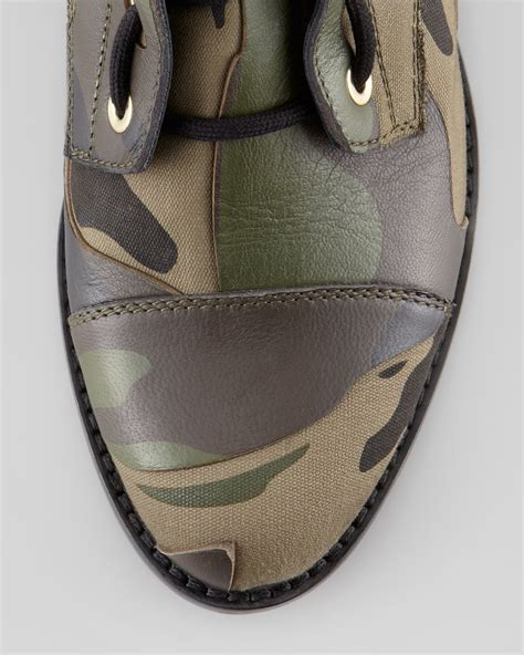 Valentino Camo Leather Canvas Combat Boot Army Green - Lyst